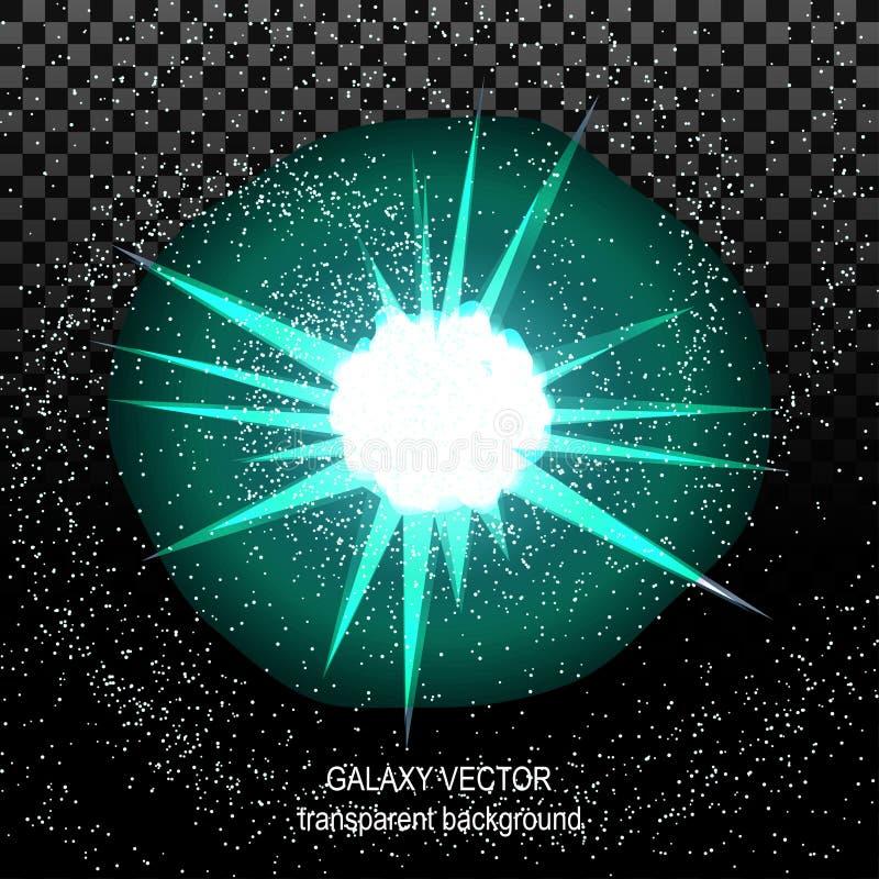 Protagonice con la turquesa blanca de los rayos en el espacio aislado y el efecto libre illustration