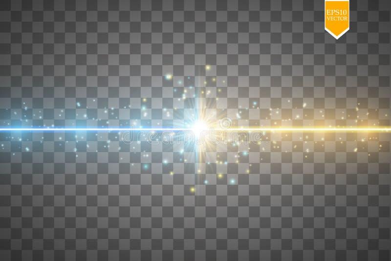 Protagonice el efecto luminoso del choque y de la explosión, colisión brillante de neón del laser rodeada por el stardust en fond stock de ilustración