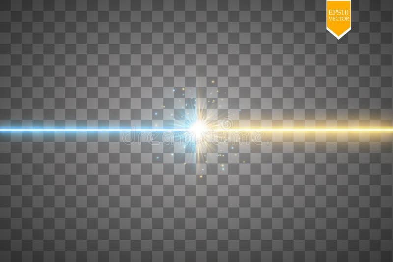 Protagonice el efecto luminoso del choque y de la explosión, colisión brillante de neón del laser rodeada por el stardust en fond ilustración del vector