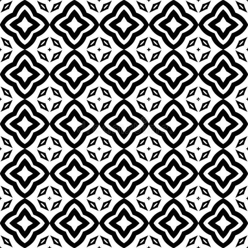Protagonice el ejemplo inconsútil del fondo del modelo de las flores en blanco negro de n libre illustration