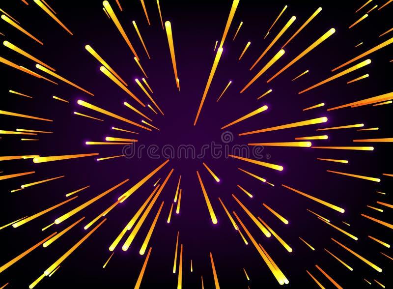 Protagonice la deformación o Hyperspace con el espacio libre en el centro, luz del concepto de mudanza de las estrellas libre illustration
