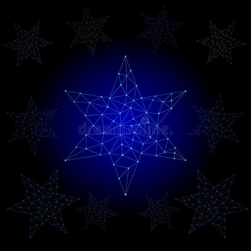 Protagonice la luz, línea del polígono, ejemplo abstracto del vector stock de ilustración