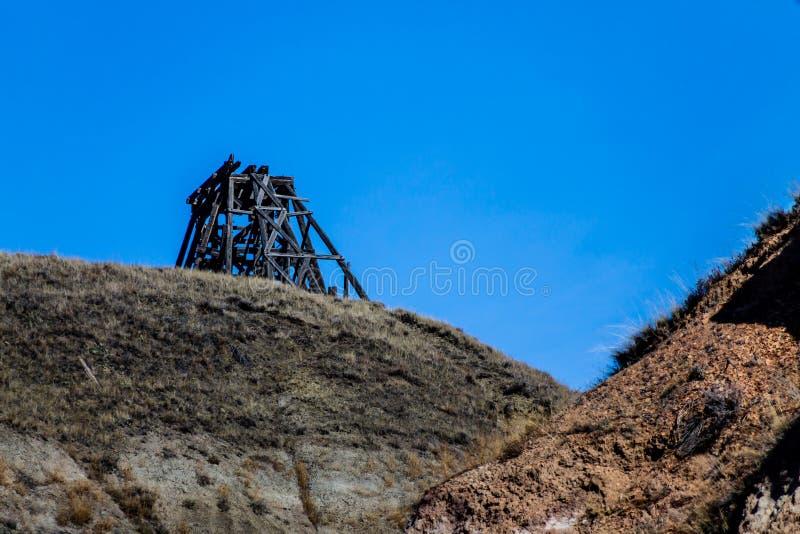 Protagonice la mina de carbón, Badlands canadienses, Drunheller, Alberta, Canadá imagenes de archivo