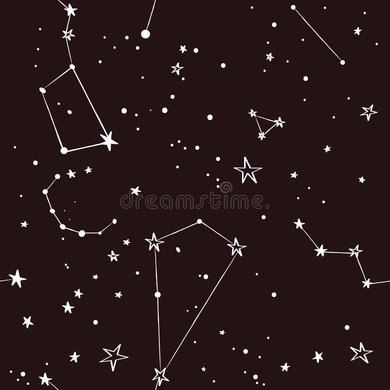 Protagoniza no teste padrão do céu noturno ilustração stock