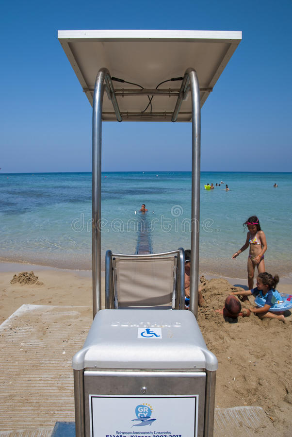 Protaras. CYPRUS-JULY 10,2013:New - care for the convenience and and the pleasure of people with disability,during their summer vacation on the beach in ,Cyprus stock photos