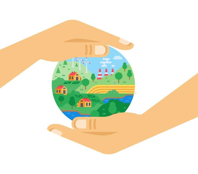 Proteção ambiental, atitude cuidadosa com relação à natureza, cidade ecologicamente limpa ilustração royalty free