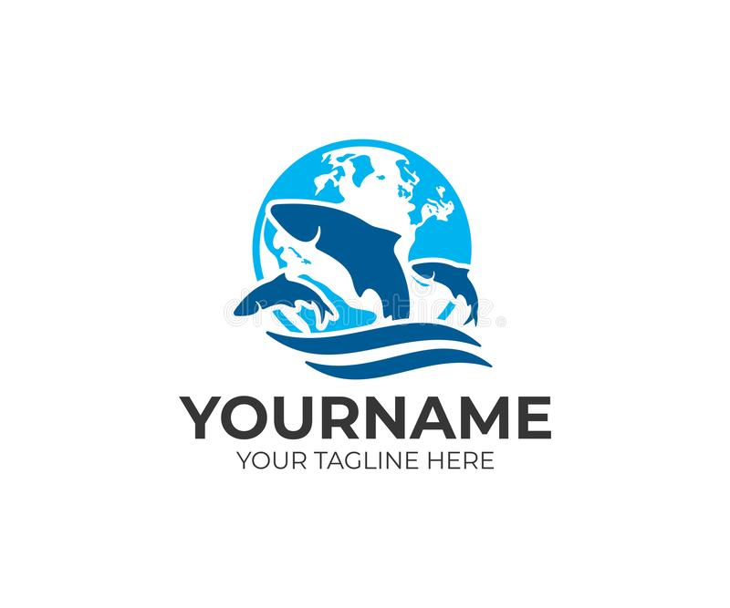 Proteção ambiental, produzindo peixes, terra do planeta e peixes na água, projeto do logotipo Animais, vida subaquática, natu ilustração royalty free