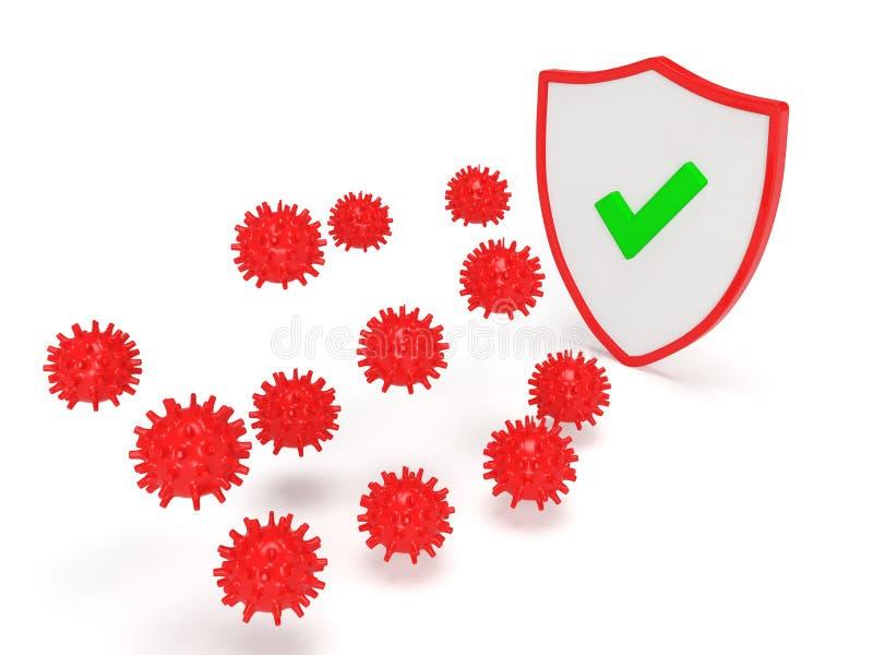 Proteção antivírus 3D fotos de stock royalty free