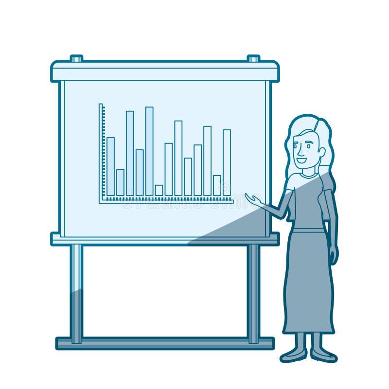 Proteção azul da silhueta da cor da mulher na placa da apresentação com gráficos das colunas ilustração royalty free
