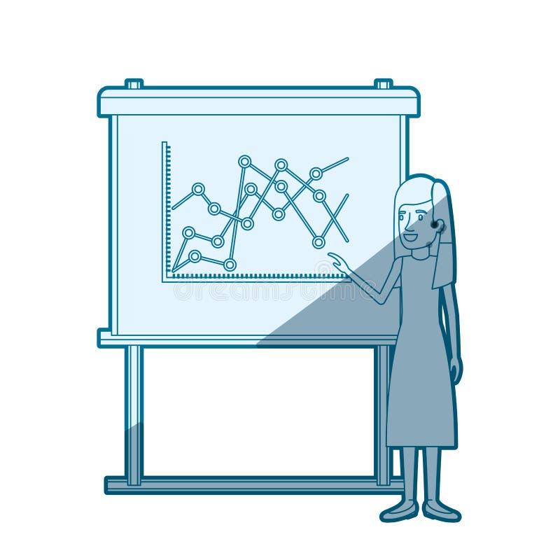 Proteção azul da silhueta da cor da mulher na placa da apresentação com linha gráficos ilustração stock