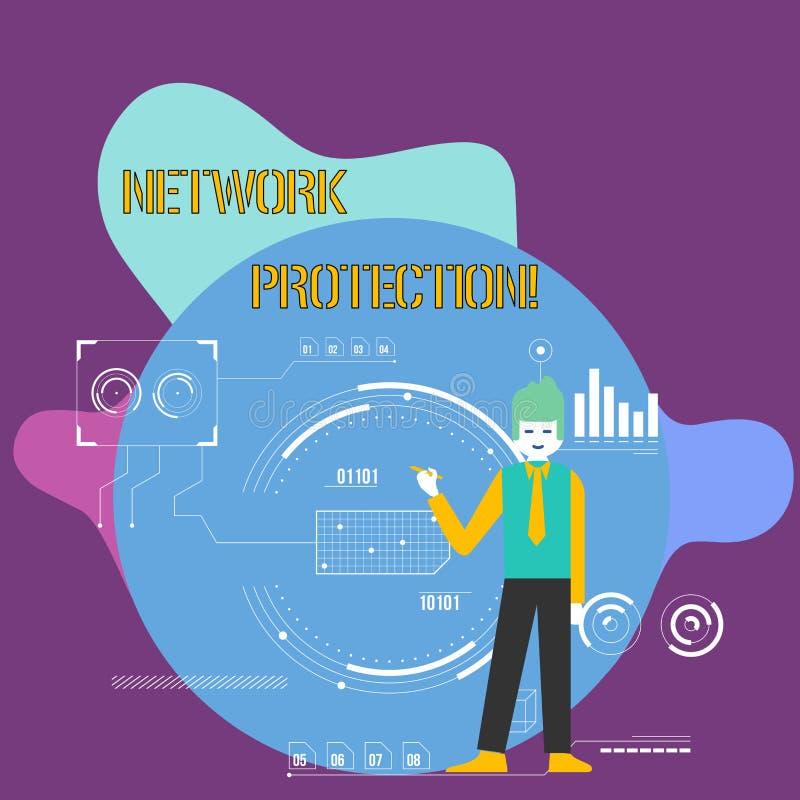 Proteção conceptual da rede da exibição da escrita da mão Foto do negócio que apresenta para proteger a usabilidade e a integrida ilustração do vetor