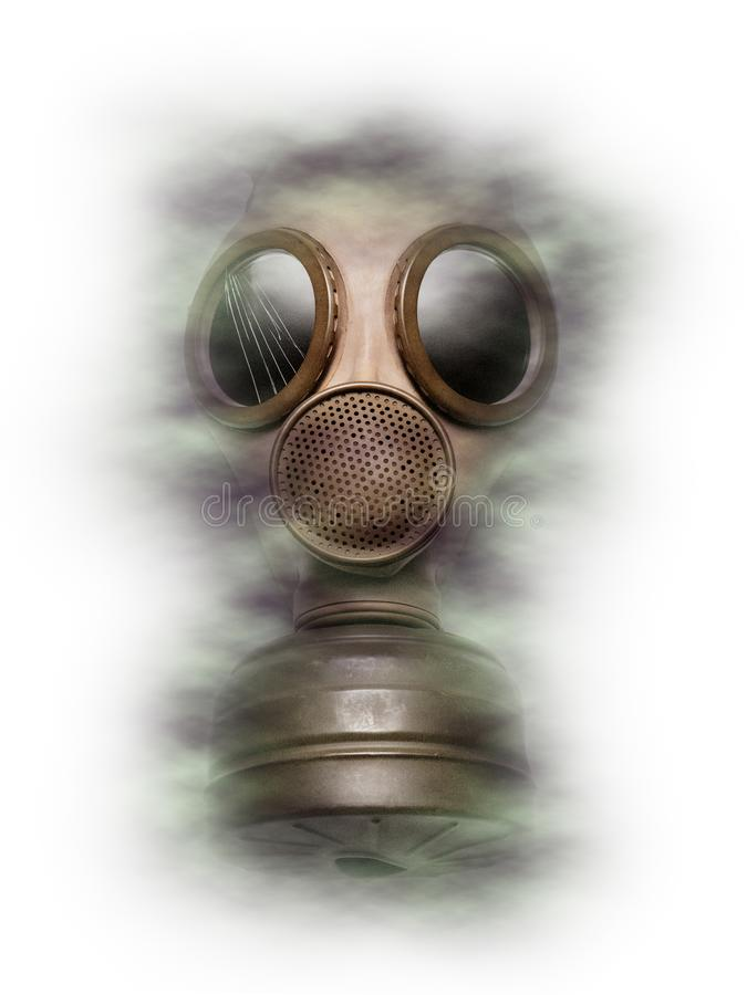 Proteção contra a máscara de gás e medo de ataques químicos e biológicos, guerra e terror fotos de stock royalty free