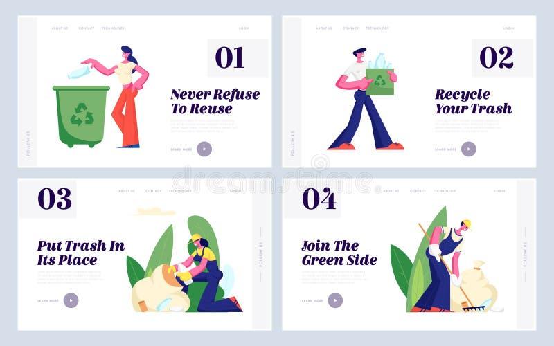 Proteção da ecologia, reciclando, grupo plástico da página da aterrissagem do Web site da reutilização, voluntários que limpam o  ilustração do vetor