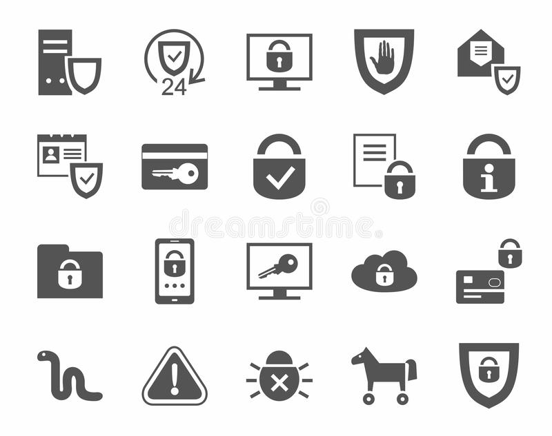 Proteção da informação, ícones, monocromáticos ilustração stock