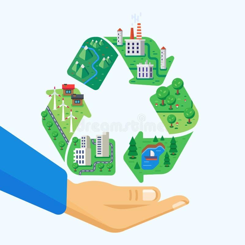 Proteção de ambiente Limpe a cidade, paisagens, produção wasteless, fábricas, moinhos de vento ilustração royalty free
