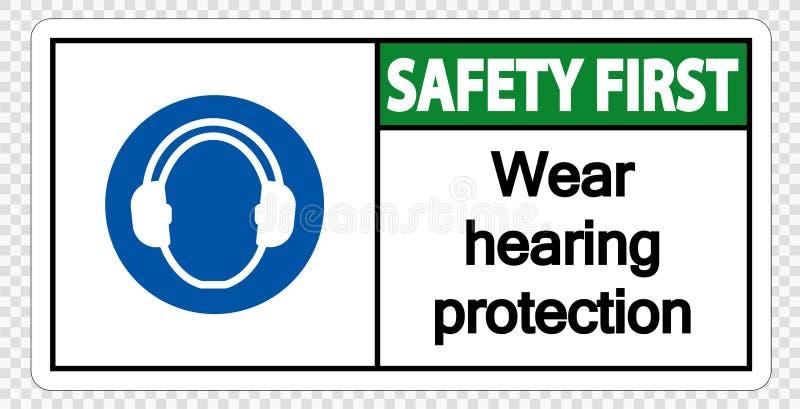 proteção de audição do desgaste da segurança em primeiro lugar do símbolo no fundo transparente ilustração royalty free