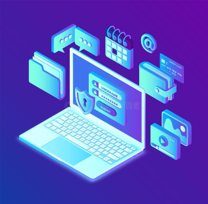 Proteção de dados Abra o portátil com formulário na tela, proteção de dados pessoal da autorização Sistema de autenticação, acess ilustração do vetor