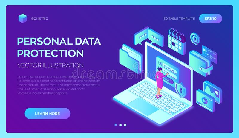 Proteção de dados Computador de secretária com formulário na tela, proteção de dados pessoal da autorização Caráter fêmea do usuá ilustração do vetor