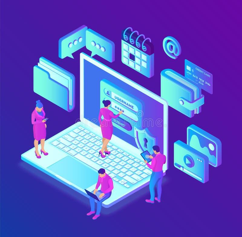 Proteção de dados Computador de secretária com formulário na tela, proteção de dados pessoal da autorização Homem do usuário e ca ilustração royalty free