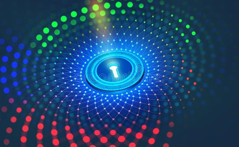 Proteção de dados de Digitas Segurança do Internet na rede global Cyberspace do conceito do futuro ilustração do vetor