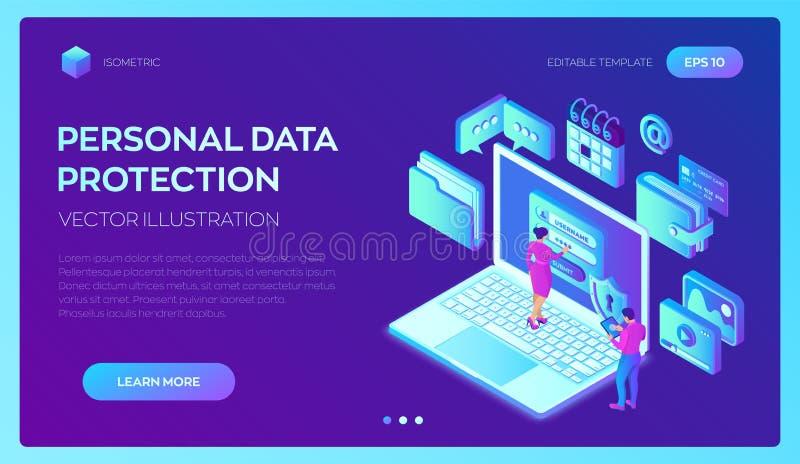 Proteção de dados Portátil com formulário na tela, proteção de dados pessoal da autorização Homem do usuário e caráter fêmea ilustração stock