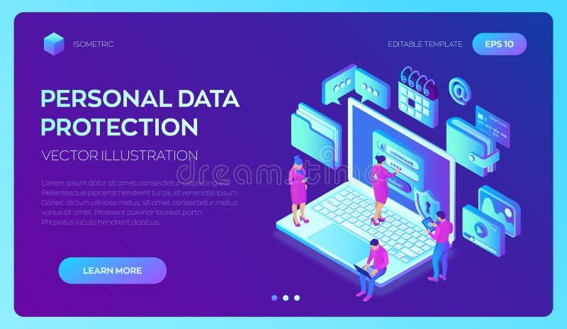 Proteção de dados Portátil com formulário na tela, proteção de dados pessoal da autorização Homem do usuário e caráter fêmea Aces ilustração royalty free