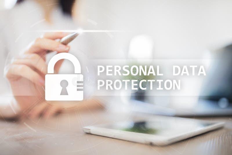 Proteção de dados, segurança do Cyber e privacidade pessoais da informação GDPR imagem de stock