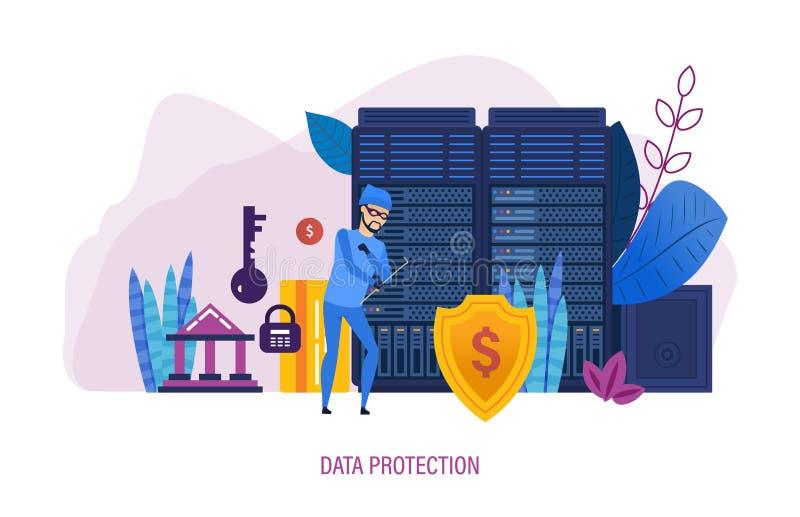 Proteção de dados Segurança do Internet, proteção dos dados, informação confidencial ilustração royalty free