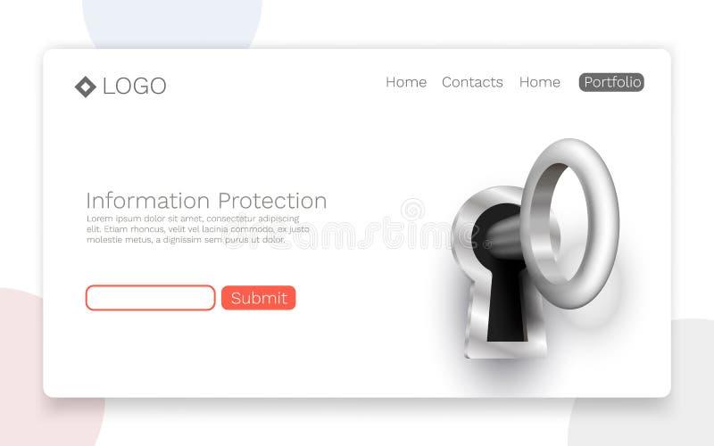 Proteção de informação, conceito de aterrissagem da página ilustração do vetor