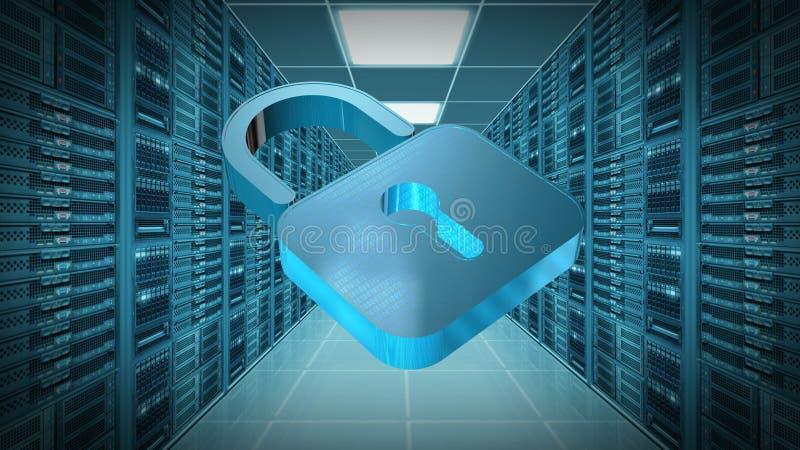Proteção de informação e segurança do cyber - cadeado fechado no fundo da sala do servidor ilustração royalty free