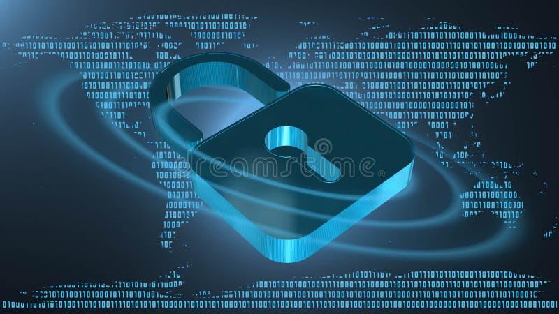 Proteção de informação e segurança do cyber - cadeado fechado no fundo digital ilustração royalty free