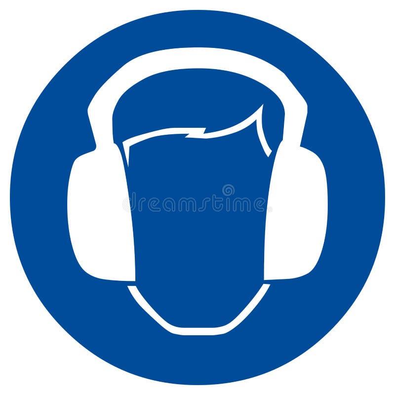 Proteção de orelha do sinal de segurança ilustração stock