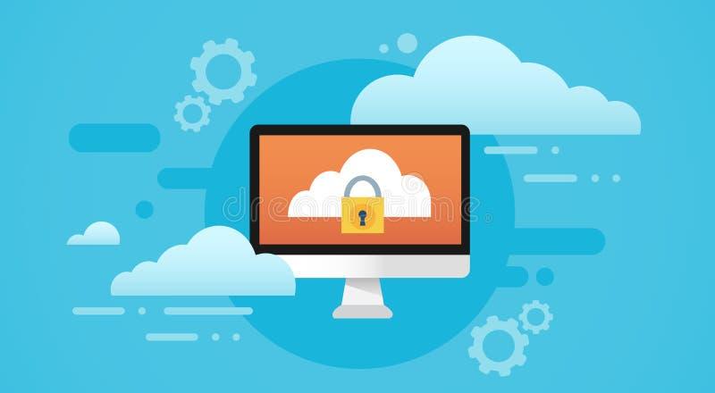 Proteção de privacidade dos dados da tela do fechamento do base de dados da nuvem do computador ilustração do vetor