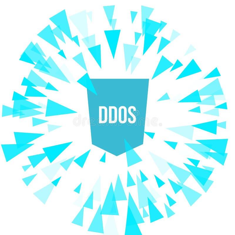 Proteção do ataque de DDoS do hacker ilustração stock