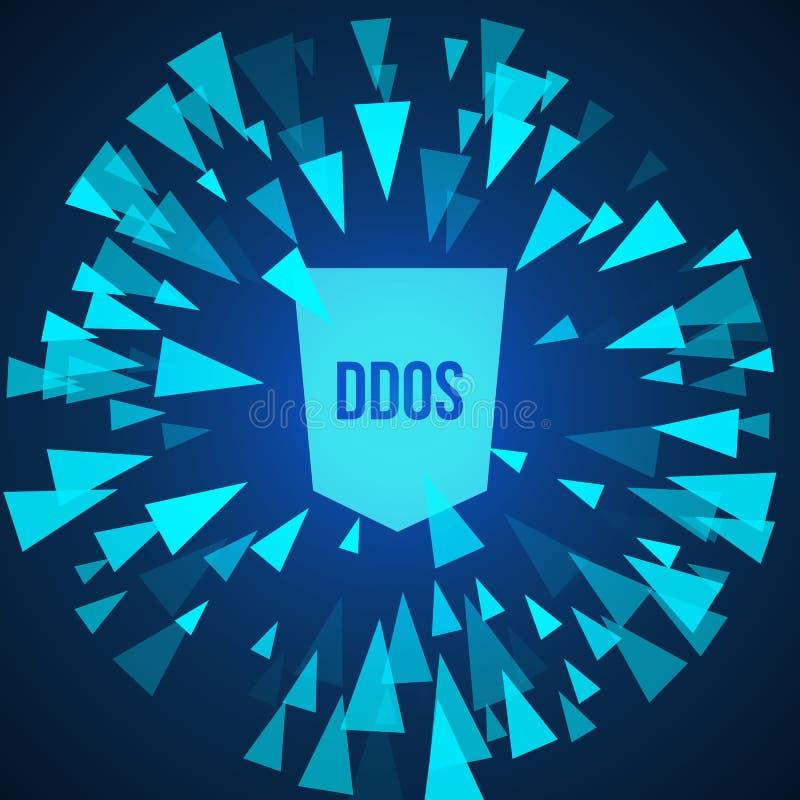 Proteção do ataque de DDoS do hacker ilustração royalty free