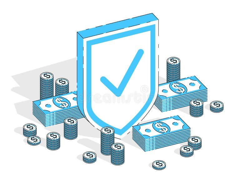 Proteção do conceito da finança, protetor do metal do protetor com mone do dinheiro ilustração stock
