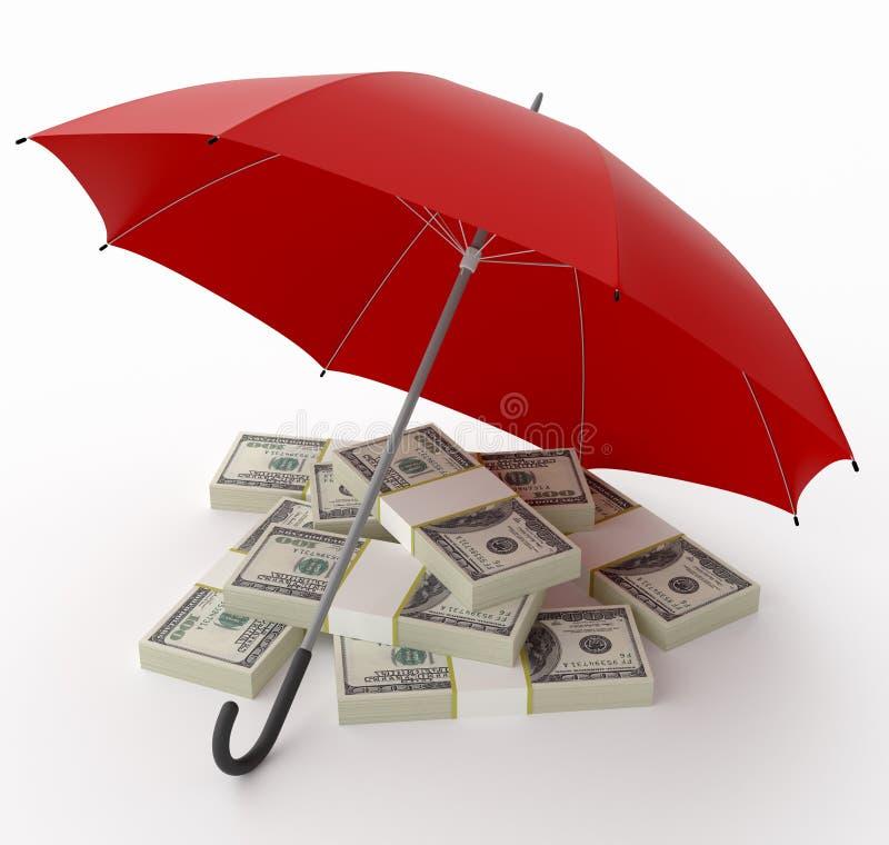 Proteção do dinheiro. Inclua o trajeto de grampeamento. ilustração royalty free