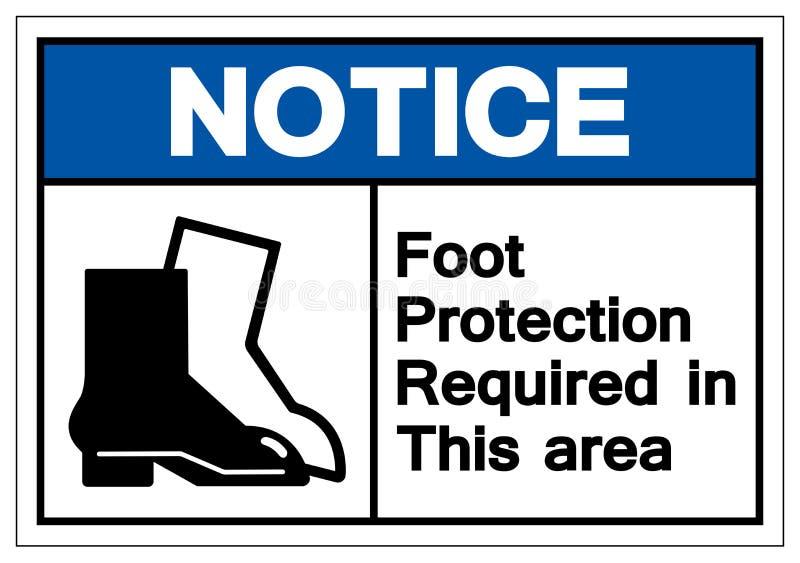 Proteção exigida neste sinal do símbolo da área, ilustração do pé da observação do vetor, isolada na etiqueta branca do fundo EPS ilustração stock