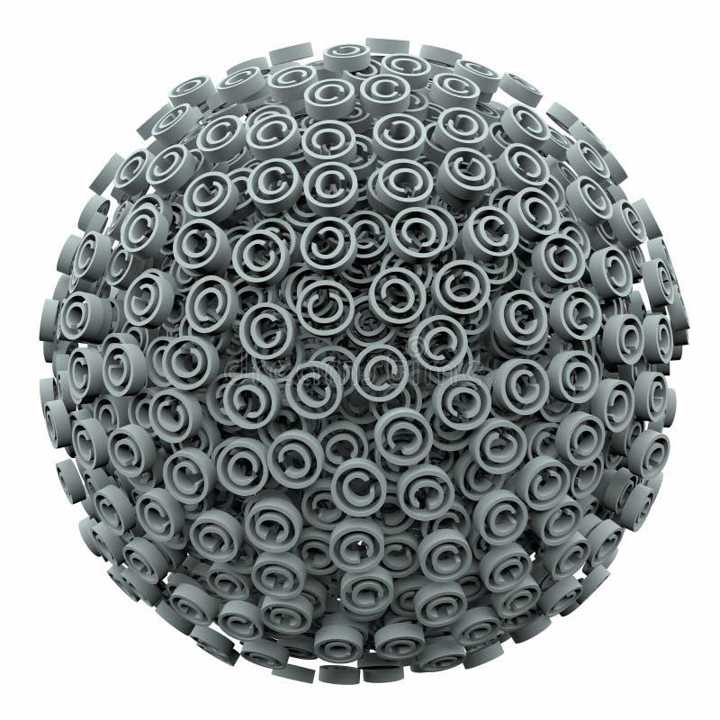 Proteção legal do intelectual da bola da esfera do símbolo de Copyright 3d ilustração do vetor