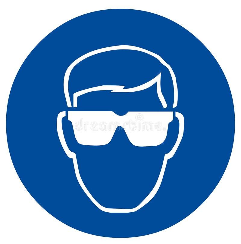 Proteção ocular do sinal de segurança ilustração royalty free
