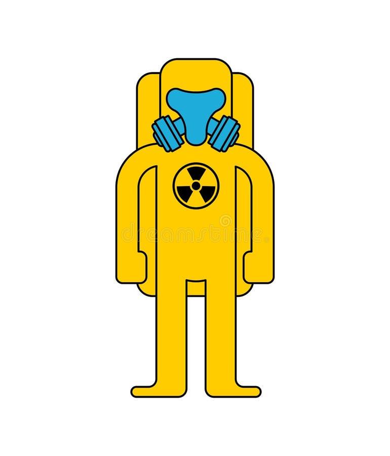 Proteção química do Biohazard do terno amarelo Traje a radioativo ilustração royalty free