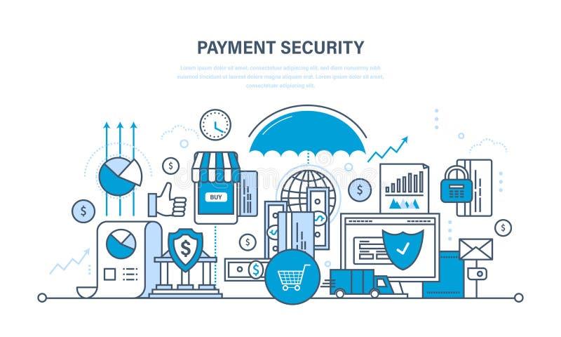 Proteção, segurança do pagamento da garantia, finança, depósitos de dinheiro, seguro, transferências de dinheiro ilustração stock