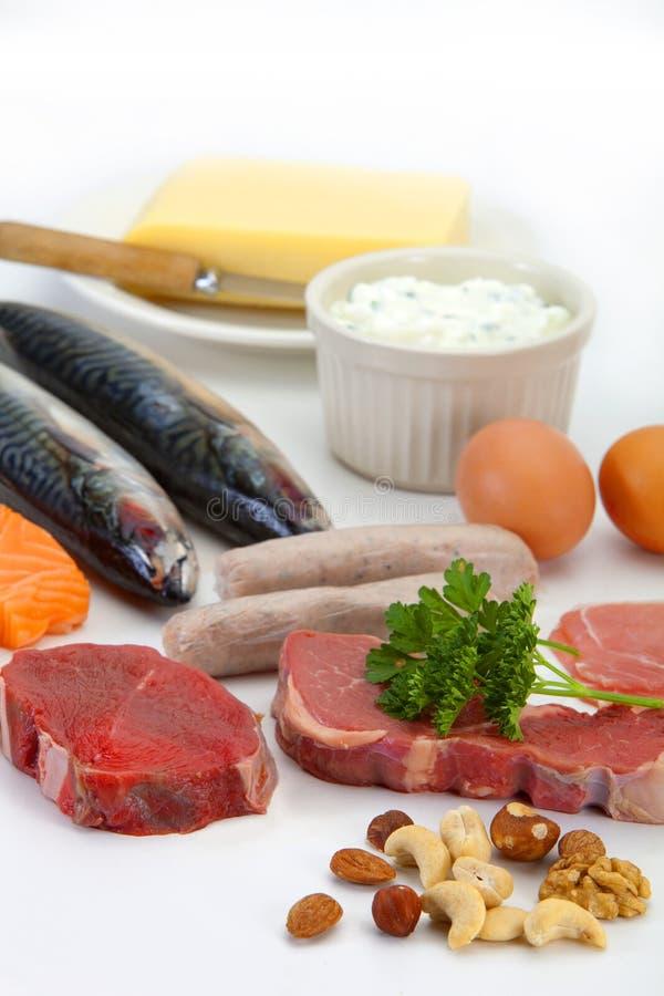 Proteína - alimentos ricos imagem de stock royalty free