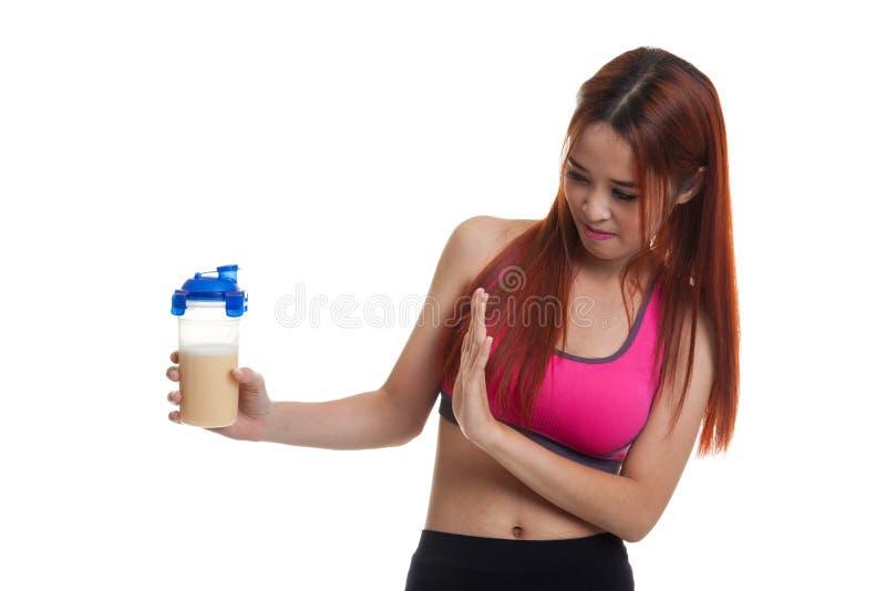 Proteína saudável asiática bonita do soro do ódio da menina imagens de stock