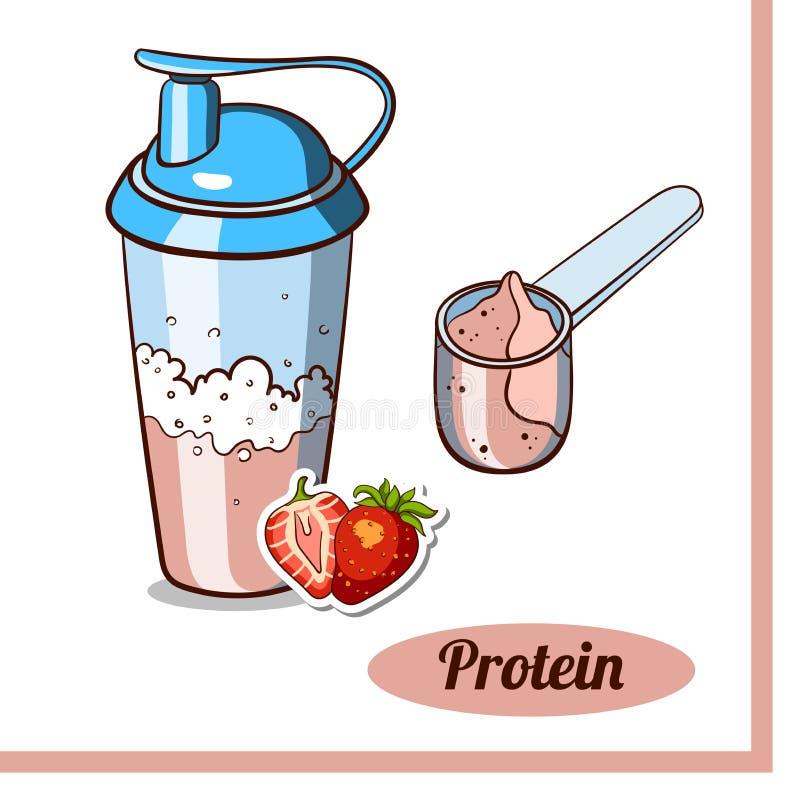 Proteína Shaker Strawberry da colher ilustração royalty free