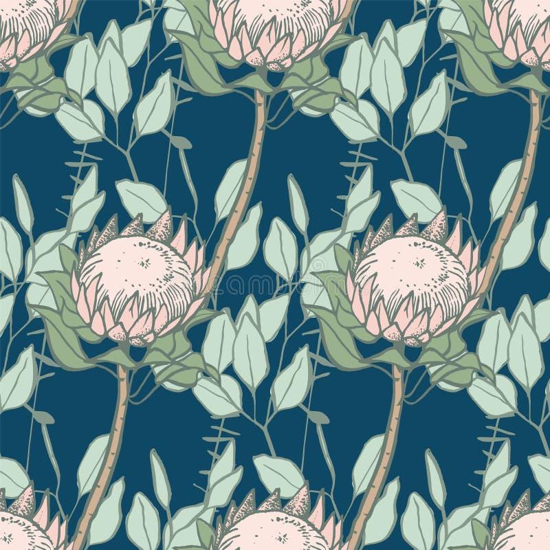 Protea en eucalyptus naadloos patroon royalty-vrije illustratie