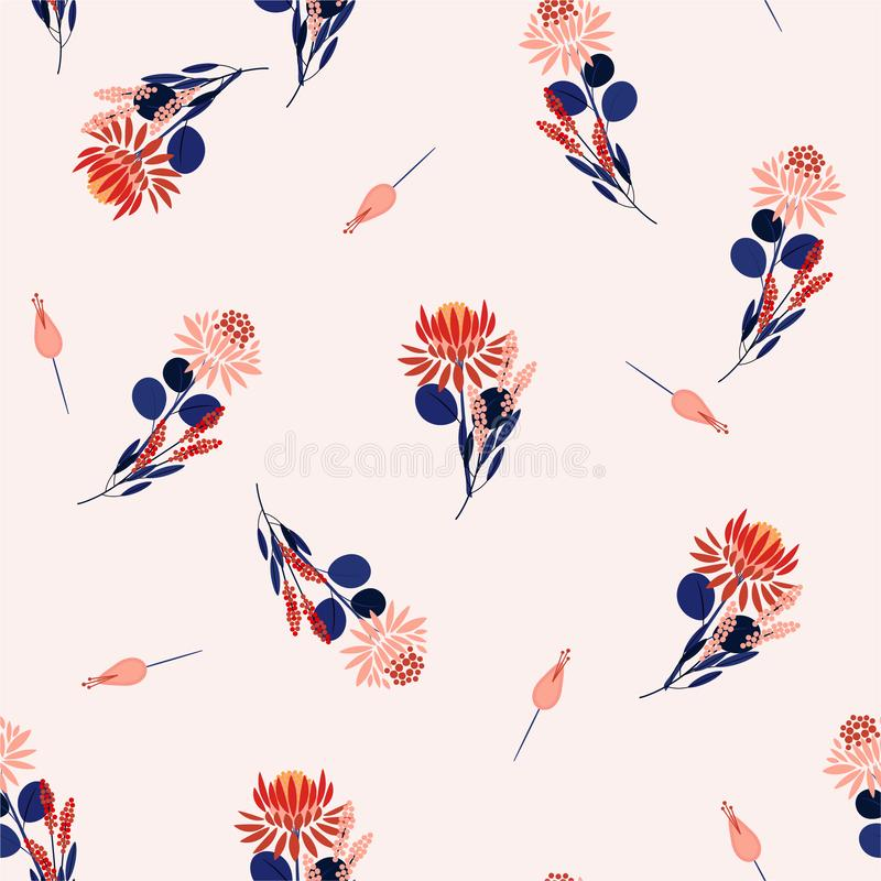 Protea flowers Vector isolated abstract seamless pattern florals and plants. Decorative design elements.Random repeat design for vector illustration