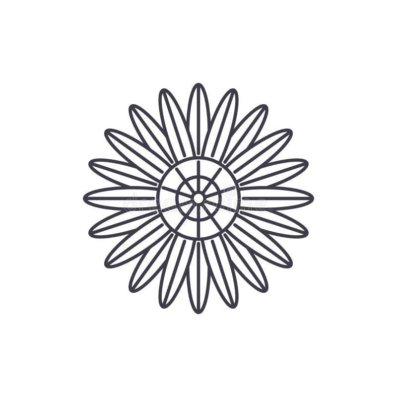Protea line icon concept. Protea flat vector sign, symbol, illustration. stock illustration