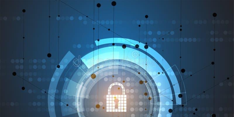 Protección cibernética de la red de la seguridad y de información Los servicios web futuros de la tecnología para el negocio y In stock de ilustración