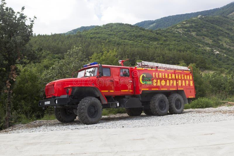 Protección contra los incendios del coche Safari Park de servicio Gelendzhik imagen de archivo